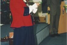 Hofnarr Fröhlich alias  M. Chr. Schanzenbach bei der Schuleinführung